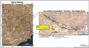Cerro Moro Core Mine Location Map Showing Main Near Mine Target Areas and Principle Vein Systems Along the Escondida-Zoe Trend, and Location of Cassius Target to South.