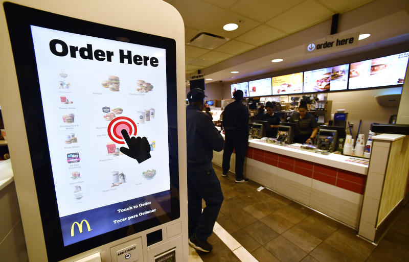 A McDonald's kiosk is shown, Tuesday, March 6, 2018, in Atlanta. (AP Photo/Mike Stewart)