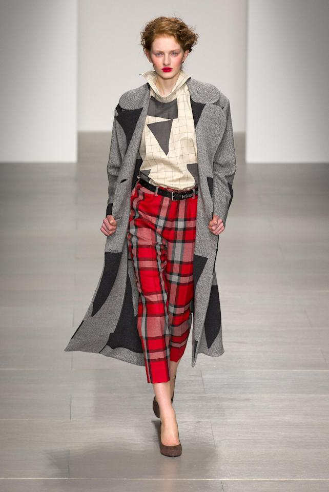 A 2014 Autumn / Winter look from Vivienne Westwood, who is known for her creative use of tartans and will be inducted into the Scottish Fashion Awards Hall of Fame.