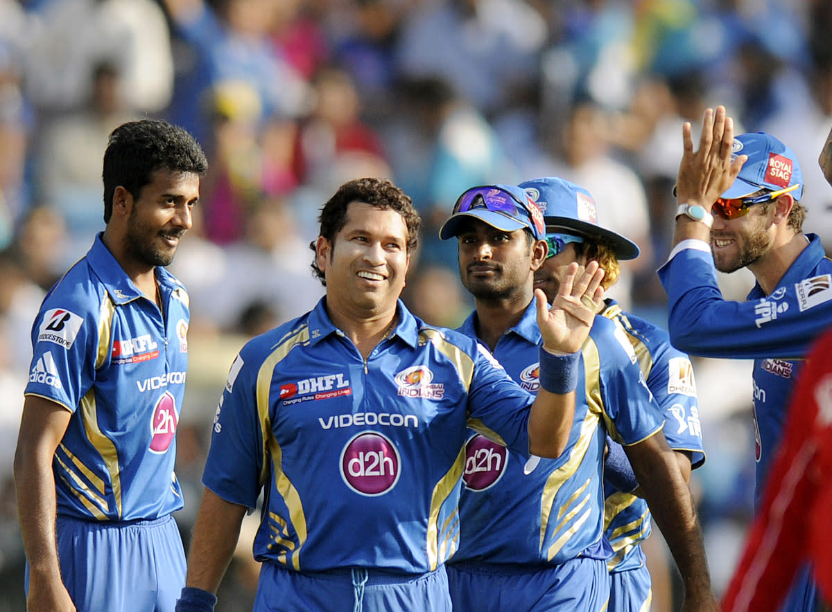 Sachin Tendulkar of Mumbai Indians celebrates after getting Angelo Mathews of Pune Warriors run out by a direct hit  during match 58 of the Pepsi Indian Premier League ( IPL) 2013  between The Pune Warriors India and the Kolkata Knight Riders held at the Subrata Roy Sahara Stadium, Pune on the 11th May 2013. (BCCI)
