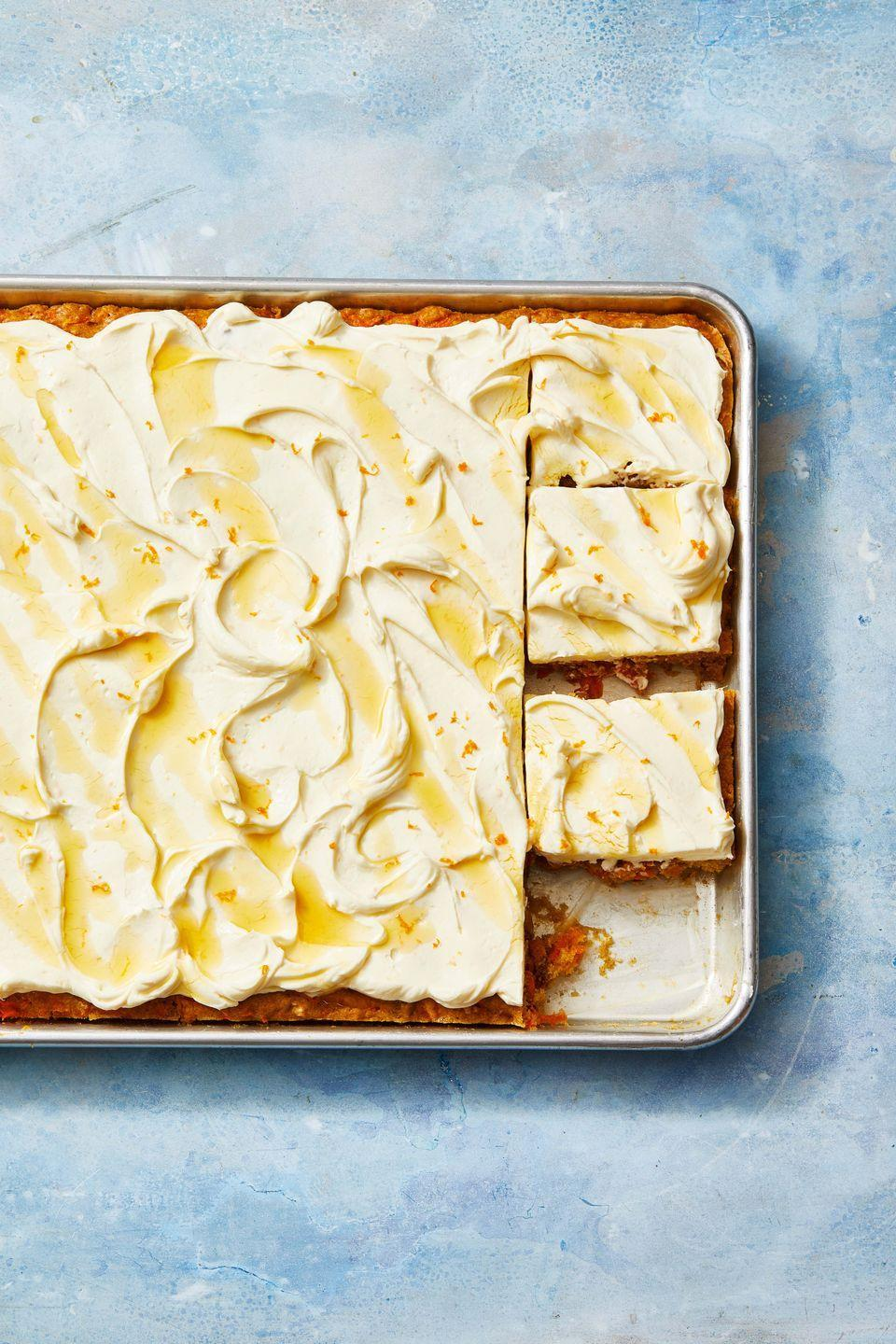 """<p>Carrot cake isn't just for Easter! If this is dad's favorite, you can make it for any holiday.</p><p><em><a href=""""https://www.goodhousekeeping.com/food-recipes/dessert/a30996763/carrot-sheet-cake-recipe/"""" rel=""""nofollow noopener"""" target=""""_blank"""" data-ylk=""""slk:Get the recipe for Carrot Sheet Cake With Cream Cheese Frosting »"""" class=""""link rapid-noclick-resp"""">Get the recipe for Carrot Sheet Cake With Cream Cheese Frosting »</a></em></p><p><strong>RELATED: </strong><a href=""""https://www.goodhousekeeping.com/holidays/easter-ideas/g4156/easter-cakes/"""" rel=""""nofollow noopener"""" target=""""_blank"""" data-ylk=""""slk:45 Beautiful Easter Cakes That Anyone Can Make"""" class=""""link rapid-noclick-resp"""">45 Beautiful Easter Cakes That Anyone Can Make</a></p>"""