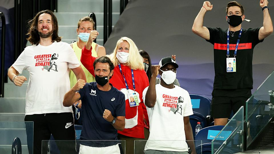 Serena Williams' husband Alexis Ohanian and coach Patrick Mouratoglou, pictured here cheering her on against Simona Halep.