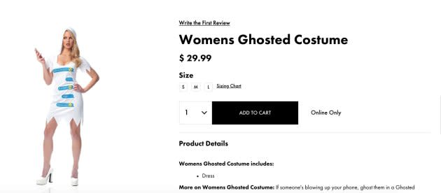 "Party City is now offering a ""Ghosted"" costume."