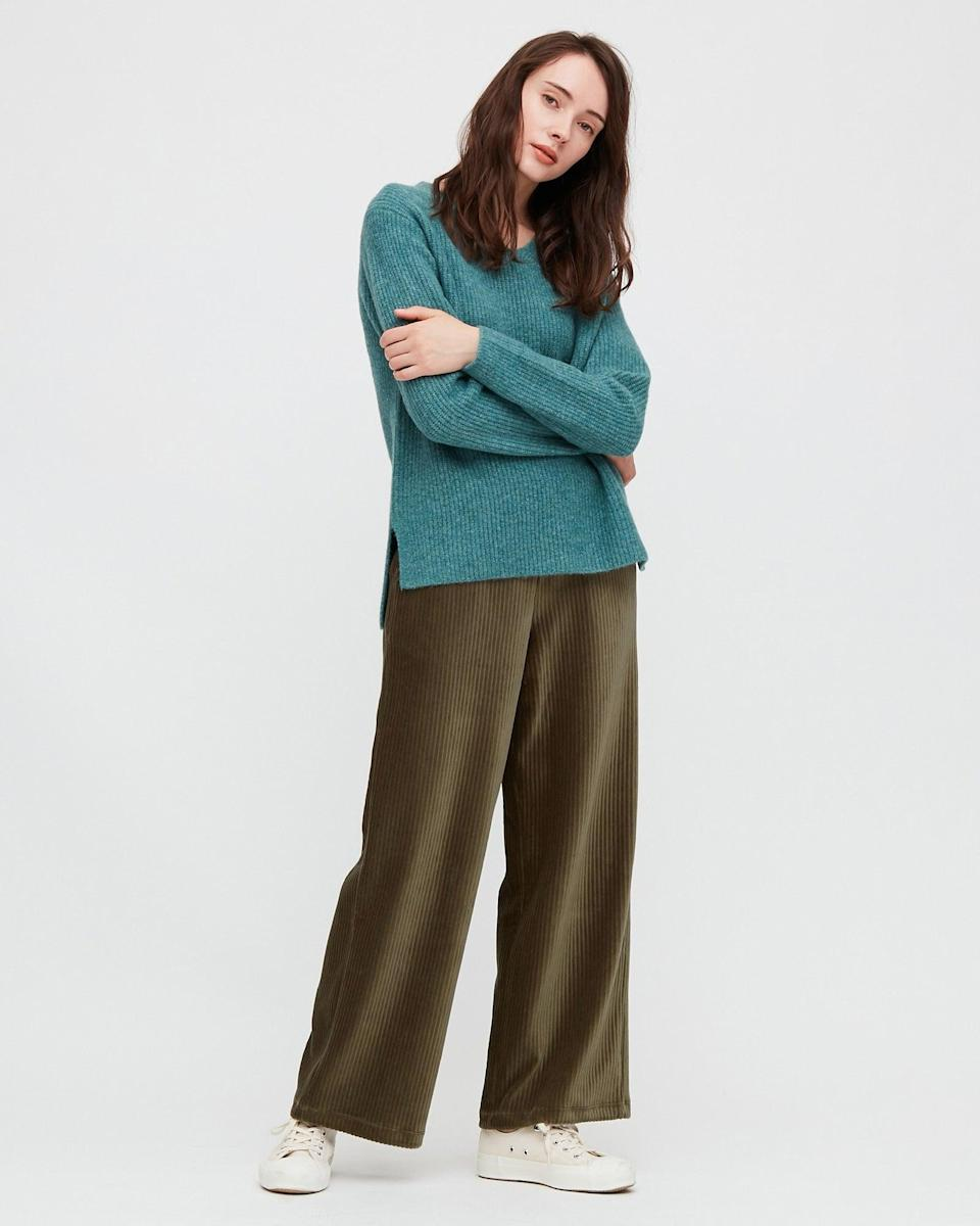 """<br><br><strong>Uniqlo</strong> Corduroy Wide Fit Straight Leg Trousers, $, available at <a href=""""https://www.uniqlo.com/uk/en/product/women-corduroy-wide-fit-straight-leg-trousers-430274COL58SMA003000.html"""" rel=""""nofollow noopener"""" target=""""_blank"""" data-ylk=""""slk:Uniqlo"""" class=""""link rapid-noclick-resp"""">Uniqlo</a>"""