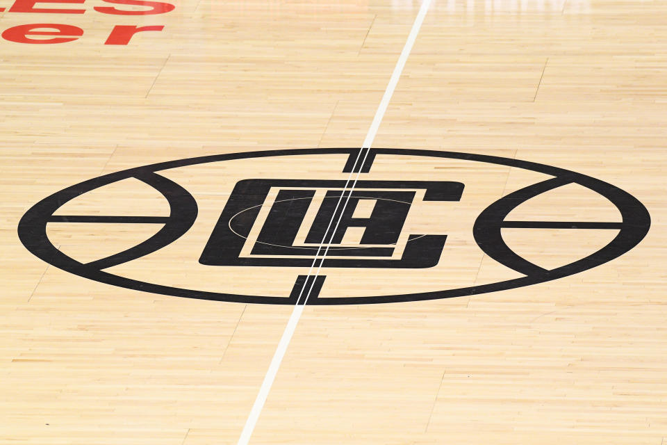 LOS ANGELES, CA - MARCH 08: The Los Angeles Clippers logo on the court during a NBA game between the Los Angeles Lakers and the Los Angeles Clippers on March 8, 2020 at STAPLES Center in Los Angeles, CA. (Photo by Brian Rothmuller/Icon Sportswire via Getty Images)