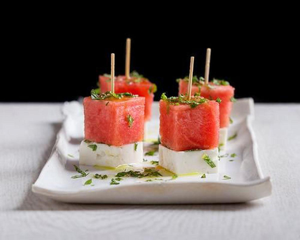 """<p>Firm feta is the trick for achieving these one-bite masterpieces. Just drizzle with olive oil and you're good to go. <b><a href=""""https://www.yahoo.com/food/oscars-snack-feta-watermelon-and-mint-skewers-110570237816.html"""" target=""""_blank"""">Get the recipe here</a>.</b></p><p><i>(Photo: Signe Birck)</i></p>"""