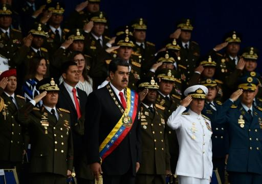 Venezuelan President Nicolas Maduro (C) attends a ceremony to celebrate the 81st anniversary of the National Guard in Caracas on August 4, 2018