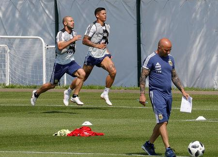 Soccer Football - World Cup - Argentina Training - Bronnitsy, Moscow Region, Russia - June 23, 2018. Marcos Rojo and Javier Mascherano attend a training session. REUTERS/Tatyana Makeyeva