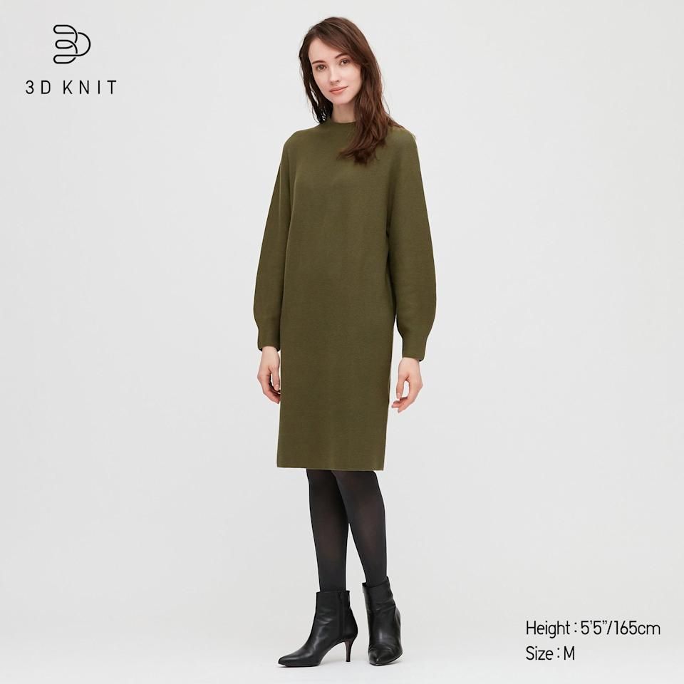 """<h2>Uniqlo 3D Knit Cotton Balloon Long-sleeve Dress</h2><br>Readers love this Japanese mega-retailer for its pared-down Eastern minimalism and innovative, highly-engineered fabrics (everything from well-loved HEATTECH layers to the breathable AIRism). This olive drab sweater dress offers the best of both worlds — it boasts a sleek silhouette and was constructed using the retailer's <a href=""""https://www.uniqlo.com/us/en/news/topics/2018090601/"""" rel=""""nofollow noopener"""" target=""""_blank"""" data-ylk=""""slk:""""intelligent"""" 3D knit technology"""" class=""""link rapid-noclick-resp"""">""""intelligent"""" 3D knit technology</a>.<br><br><strong>Uniqlo</strong> 3D Knit Cotton Balloon Long-sleeve Dress, $, available at <a href=""""https://go.skimresources.com/?id=30283X879131&url=https%3A%2F%2Fwww.uniqlo.com%2Fus%2Fen%2Fwomen-3d-knit-cotton-balloon-long-sleeve-dress-432238.html%3Fdwvar_432238_color%3DCOL12"""" rel=""""nofollow noopener"""" target=""""_blank"""" data-ylk=""""slk:Uniqlo"""" class=""""link rapid-noclick-resp"""">Uniqlo</a>"""