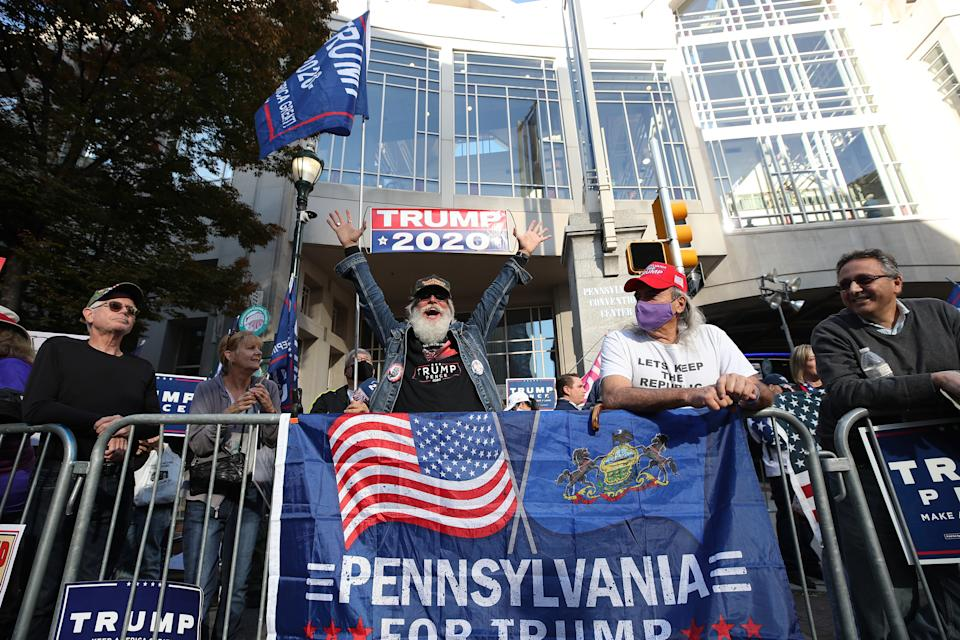 PHILADELPHIA, PA - USA - NOVEMBER 06: Trump and Biden supporters gathered at the ballot counting center as Biden supporters early celebrate in Philadelphia, Pennsylvania on November 6, 2020. (Photo by Tayfun Coskun/Anadolu Agency via Getty Images)