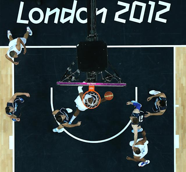 LONDON, ENGLAND - JULY 31: Ronny Turiaf #14 of France puts up a shot in the Men's Basketball Preliminary Round match between France and Argentina on Day 4 of the London 2012 Olympic Games at Basketball Arena on July 31, 2012 in London, England. (Photo by Ian Walton/Getty Images)