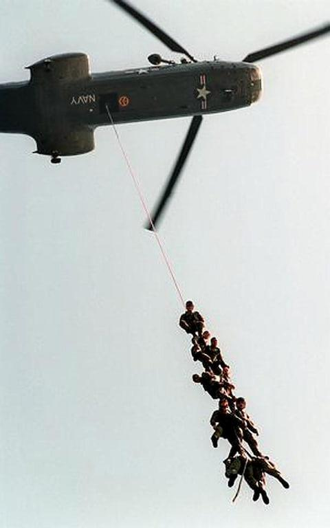A Seal team during a training mission - Credit: AFP
