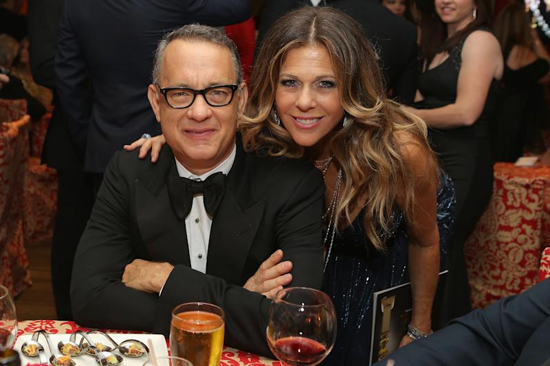 Tom Hanks and Rita Wilson attend HBO's Post 2014 Golden Globe Awards Party at Circa 55 Restaurant on January 12, 2014 in Los Angeles, California.