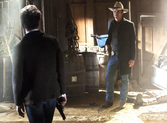 """<p>It was crowned <a href=""""https://www.yahoo.com/tv/justified-most-satisfying-series-finale-129287174690.html"""">Most Satisfying Series Finale</a> in our inaugural reader-voted Yahooies! for good reason: It had everything longtime fans could want in an hour of <i>Justified</i>, from a beautifully-filmed showdown between Raylan (Timothy Olyphant) and bad guy Boon (Jonathan Tucker) to the perfect final exchange between Raylan and Walton Goggins's Boyd (""""We dug coal together."""" """"That's right.""""). The writers stayed true to the characters while still giving viewers a hopeful flash-forward ending: Ava (Joelle Carter) is raising a son who's as buttoned-up as his daddy. Raylan and Winona (Natalie Zea) still have that spark even though they're parenting their daughter separately. And Boyd's in prison, where he has a captive audience. <i>— Mandi Bierly</i><br /></p><p><i>(Credit: FX)</i></p>"""