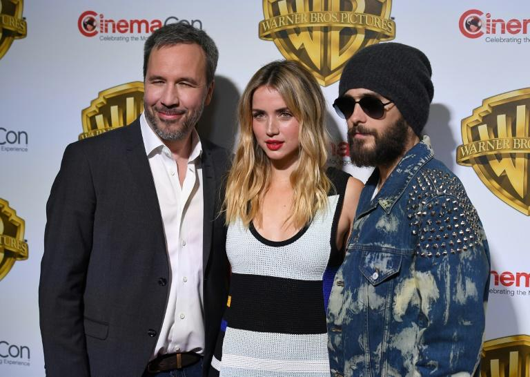 "(From L) Director Denis Villeneuve, actors Ana De Armas and Jared Leto arrive at CinemaCon 2017, Warner Bros Pictures Invites You to ""The Big Picture"", at Caesars Palace in Las Vegas, Nevada, on March 29"