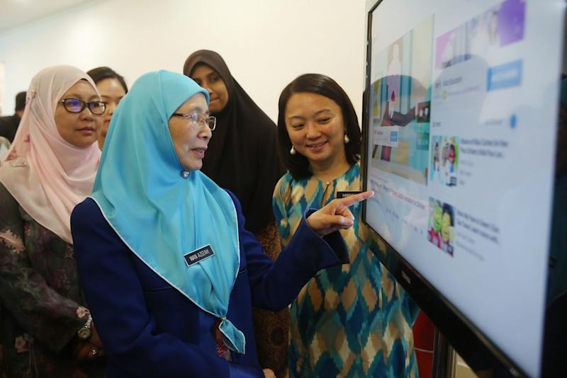 Deputy Prime Minister Datuk Seri Dr Wan Azizah Wan Ismail and Deputy Women, Family and Community Development Minister Hannah Yeoh attend the launch of a sex education awareness campaign for children in Putrajaya June 24, 2019. — Picture by Choo Choy May