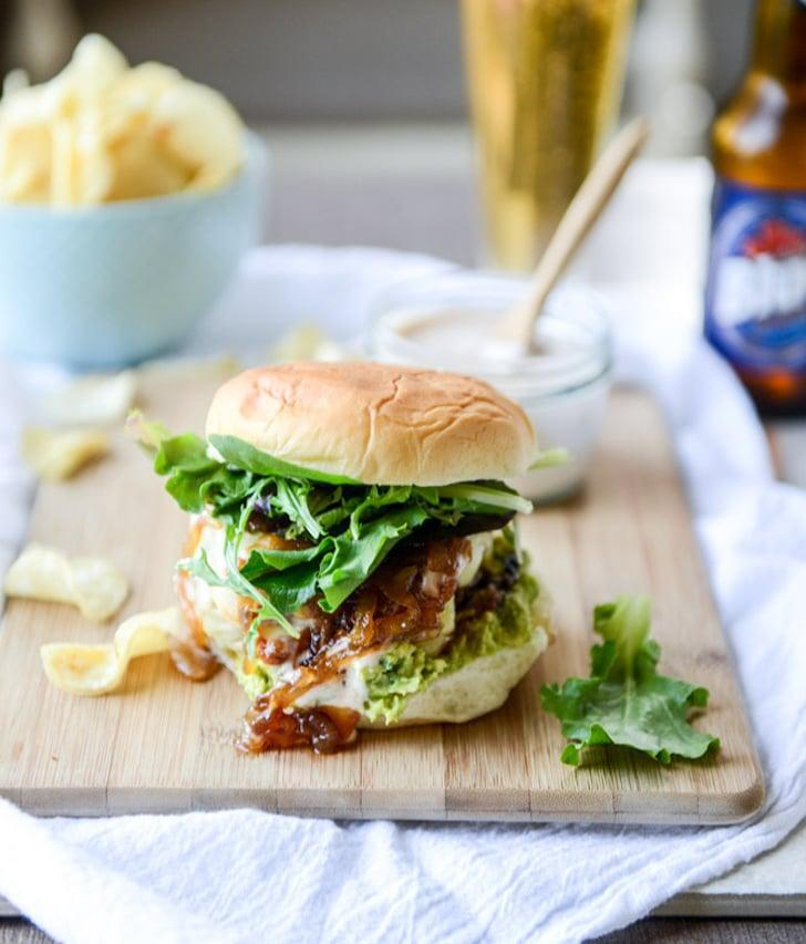 "<p>There's a lot going on with this option: the patties are stuffed with goat cheese and toppings include guacamole, cheddar, barbecue mayo, and caramelized onions. Go, West Virginia!</p> <p><strong>Get the recipe</strong>: <a href=""http://www.howsweeteats.com/2015/05/goat-cheese-guac-burgers-with-cheddar-and-caramelized-onions/"" class=""link rapid-noclick-resp"" rel=""nofollow noopener"" target=""_blank"" data-ylk=""slk:goat cheese guac burgers with cheddar and caramelized onions"">goat cheese guac burgers with cheddar and caramelized onions</a></p>"