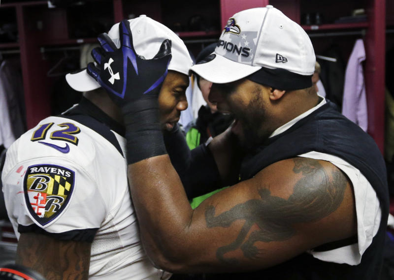 Baltimore Ravens inside linebacker Ray Lewis, right, and Jacoby Jones (12) celebrate in the team's locker room after the NFL football AFC Championship game against the New England Patriots in Foxborough, Mass., Sunday, Jan. 20, 2013. The Ravens won 28-13 to advance to Super Bowl XLVII. (AP Photo/Elise Amendola)