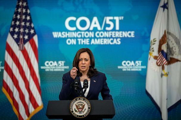 PHOTO: Vice President Kamala Harris delivers virtual remarks to the Washington Conference on the Americas in the South Court Auditorium at the White House complex on May 4, 2021, in Washington, D.C. (Drew Angerer/Getty Images)