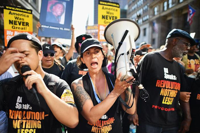 <p>Protestors march through downtown Cleveland on the second day of the Republican National Convention (RNC) on July 19, 2016 in Cleveland. Photo: Jeff J Mitchell/Getty Images)</p>