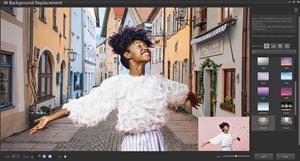 The new AI Background Replacement tool intelligently detects and masks people in a photo, enabling you to experiment with different scenes, color schemes and more.
