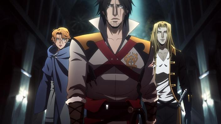 a photo of castlevania characters trevor, sypha, and alucard walking side by side