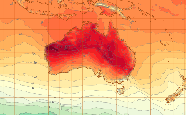 Conditions will ease on Australia's east coast come New Year's Day at 5pm (AEST). A weather map shows most of Australia will have sweltering temperatures.