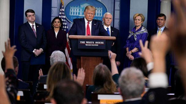 PHOTO: President Donald Trump takes questions during press briefing with the Coronavirus Task Force, at the White House, March 18, 2020. (Evan Vucci/AP)