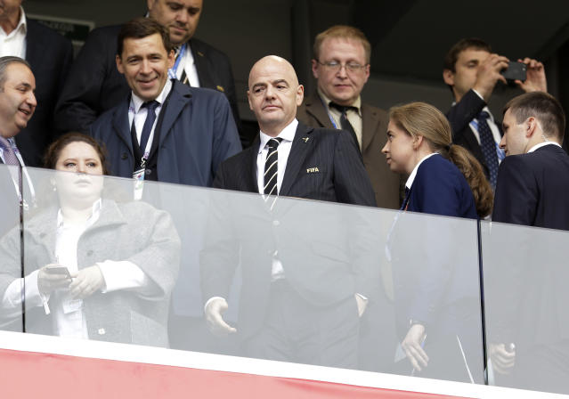 FIFA President Gianni Infantino arrives prior to the start of the group A match between Egypt and Uruguay at the 2018 soccer World Cup in the Yekaterinburg Arena in Yekaterinburg, Russia, Friday, June 15, 2018. (AP Photo/Natacha Pisarenko)