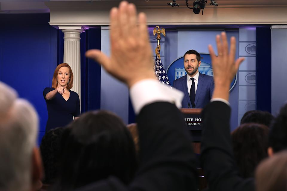 WASHINGTON, DC - JULY 02: National Economic Council Director Brian Deese (R) and White House Press Secretary Jen Psaki talk to reporters during the daily news conference in the Brady Press Briefing Room at the White House on July 02, 2021 in Washington, DC. Deese took questions about Friday's reported jobs numbers, which reported a gain of 850,000 jobs. (Photo by Chip Somodevilla/Getty Images)