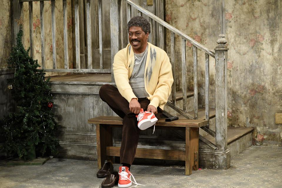 "Eddie Murphy brought back his classic 1980s character Mister Robinson – a spoof of Mister Rogers – on ""Saturday Night Live."""