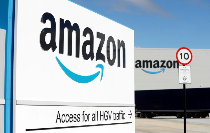 FILE PHOTO: An Amazon logo is seen at its centre in Darlington