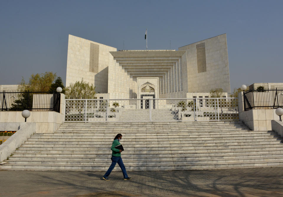An appeal hearing in the Daniel Pearl murder case was held at the Supreme Court, in Islamabad, Pakistan, Thursday, Jan. 28, 2021. The court on Thursday has ordered the release of Ahmad Saeed Omar Sheikh who was convicted and later acquitted in the gruesome beheading of American journalist Pearl in 2002. The court also dismissed an appeal of Sheikh's acquittal by Pearl's family. (AP Photo/Waseem Khan)