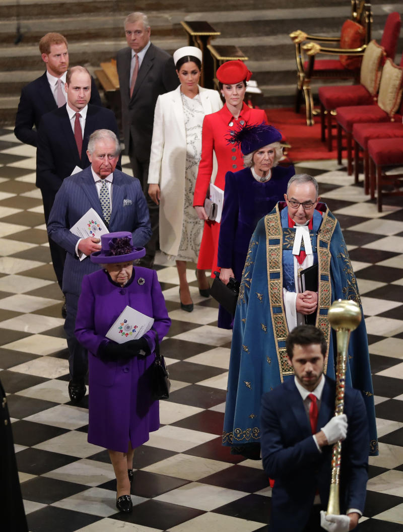 The royal family leaving the Commonwealth Day service.  (KIRSTY WIGGLESWORTH via Getty Images)