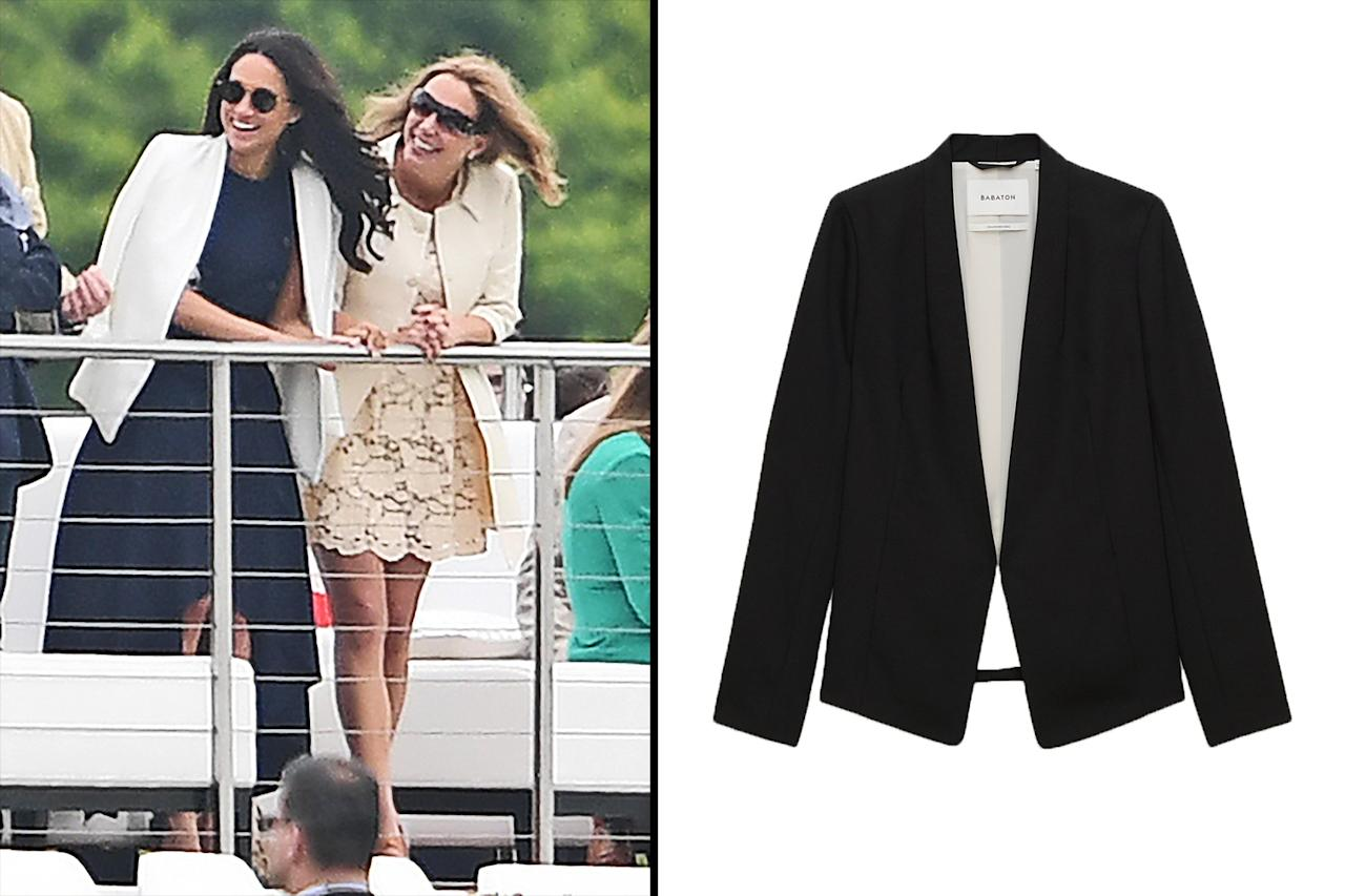 "<p>Last May, Markle attended the Audi Polo Challenge at Coworth Park Polo Club in Ascot, England, to cheer on Prince Harry; she wore an Aritzia white blazer. Although the white version has sold out, you can still nab one in black. (Photo: The Mega Agency; courtesy of Aritzia)<br /><br />Shop black version: Aritzia Babaton Keith Jacket, $195, <a rel=""nofollow"" href=""https://us.aritzia.com/product/keith-jacket/58473.html"">aritzia.com</a> </p>"