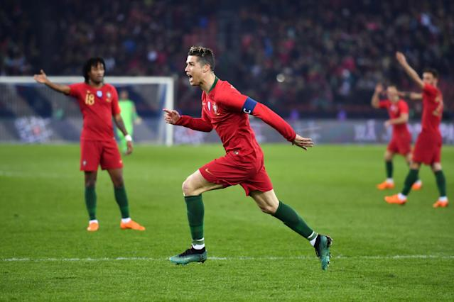 "<a class=""link rapid-noclick-resp"" href=""/soccer/players/cristiano-ronaldo/"" data-ylk=""slk:Cristiano Ronaldo"">Cristiano Ronaldo</a> scored two goals in stoppage time to beat Egypt in a friendly. (Getty)"