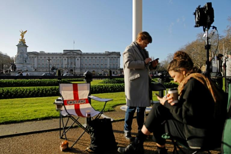 Television journalists flocked to Buckingham palace to report on 'Megxit'