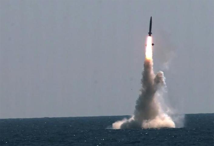 North Korea said it was 'illogical' of the South to test a submarine launched ballistic missile while condemning the North's missile test as a threat to peace (AFP/Handout)