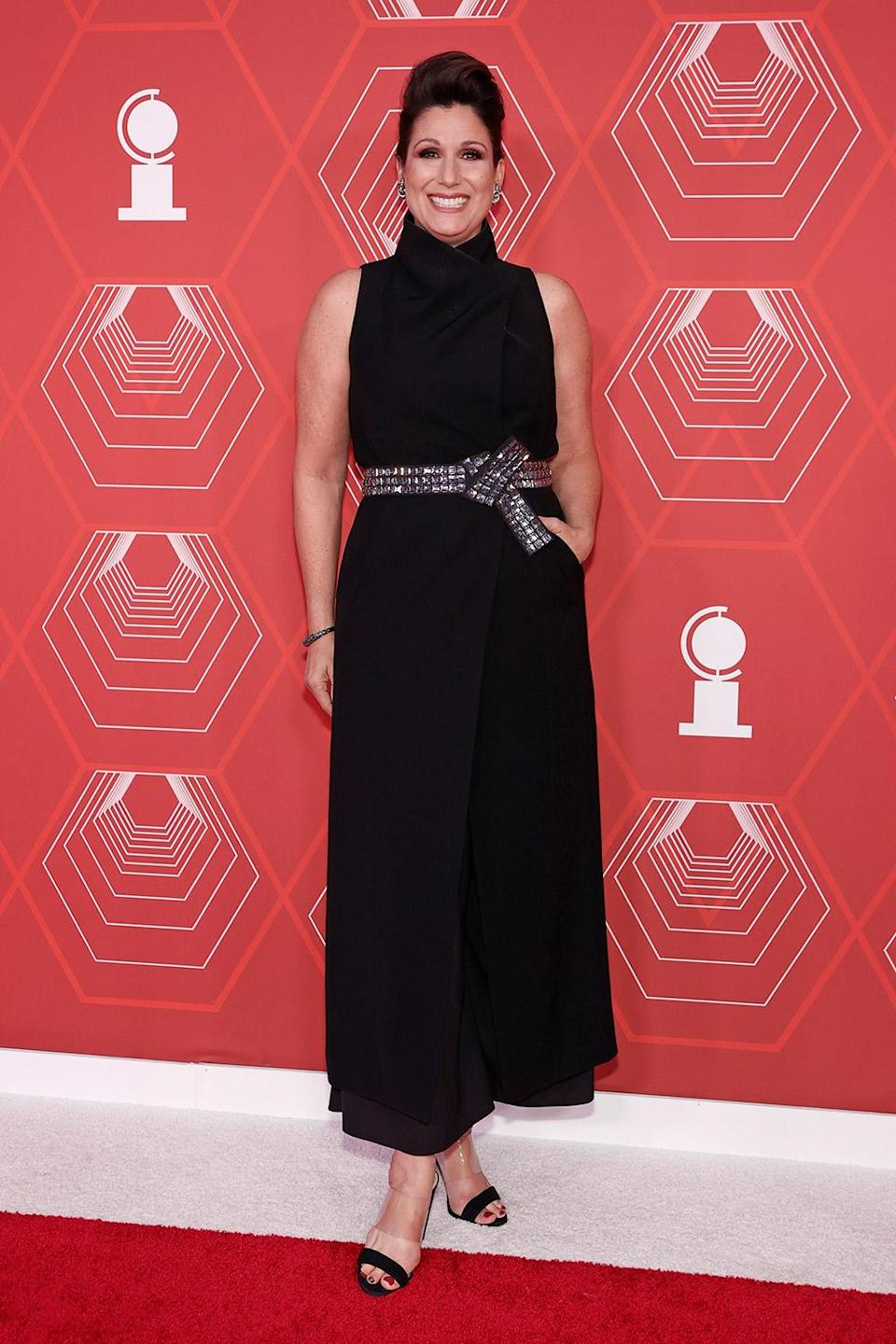 <p>Tony Award-winner Stephanie J. Block accessorized her look with a sequined belt. </p>