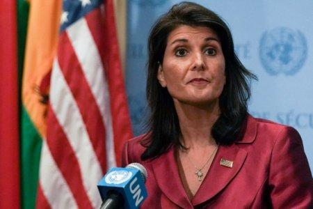 FILE PHOTO: U.S. Ambassador to the United Nations Nikki Haley speaks during a news conference at U.N. headquarters in Manhattan, New York, U.S., September 20, 2018. REUTERS/Jeenah Moon/File Photo