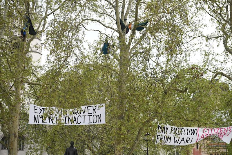 Climate activists in the trees at Parliament Square as protests enter a second week. (Jeremy Selwyn)