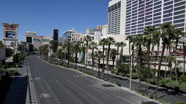 PHOTO: A view of the Las Vegas Strip between Caesars Palace and Flamingo Las Vegas shows almost no vehicle or pedestrian traffic as the coronavirus continues to spread across the United States on April 24, 2020 in Las Vegas. (Ethan Miller/Getty Images)