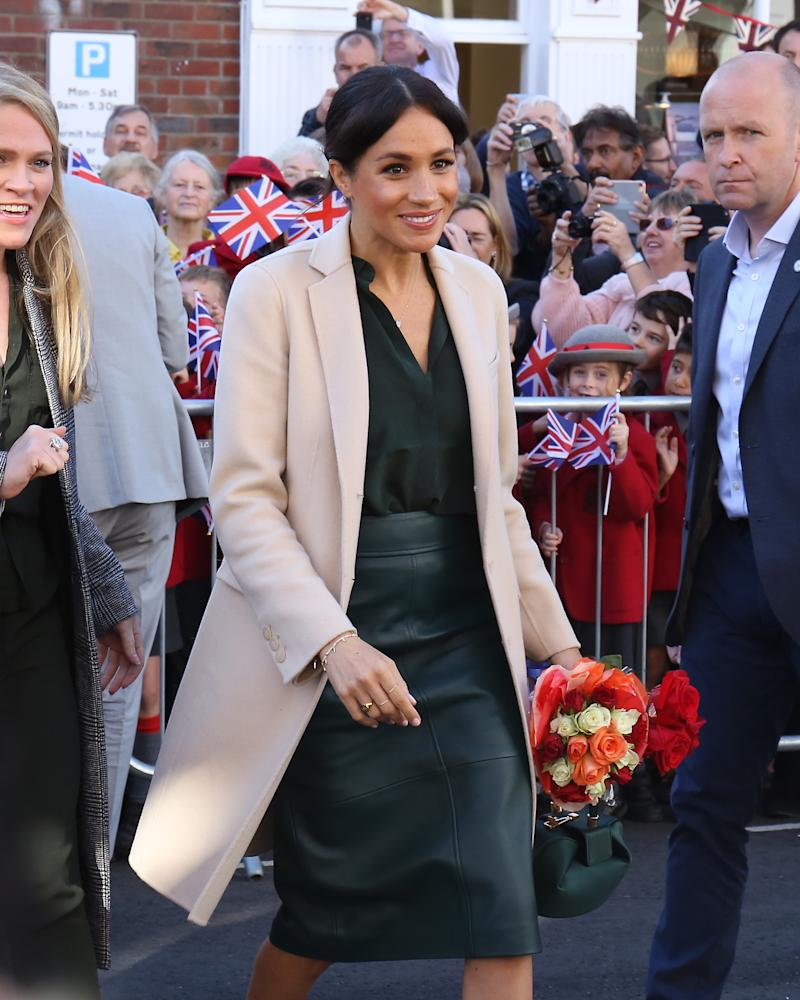 Meghan Markle Rocks A Leather Skirt On Royal Visit