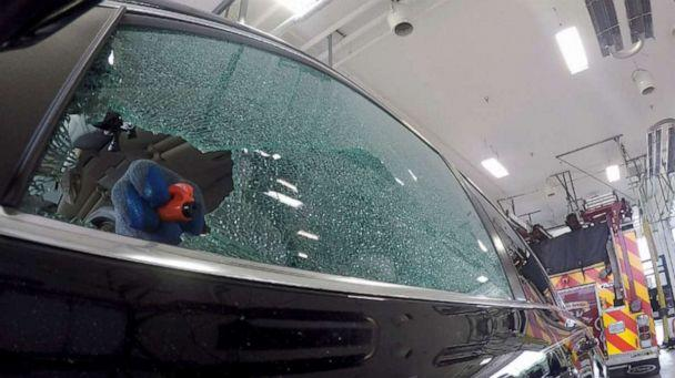 PHOTO: The resqme tool shown here, along with the results of its use on a tempered window. (ABC News)