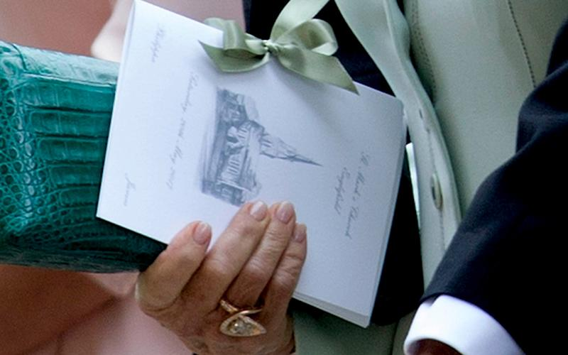 Pippa Middleton's Order of Service with a drawing of St Mark's Englefield drawn by the Duchess of Cambridge - Credit: Mark Stewart/CAMERA PRESS
