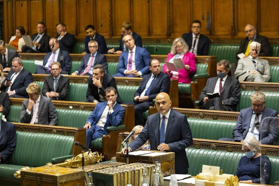 Health Secretary Sajid Javid during his statement of Covid-19 in the House of Commons (House of Commons/PA) (PA Media)