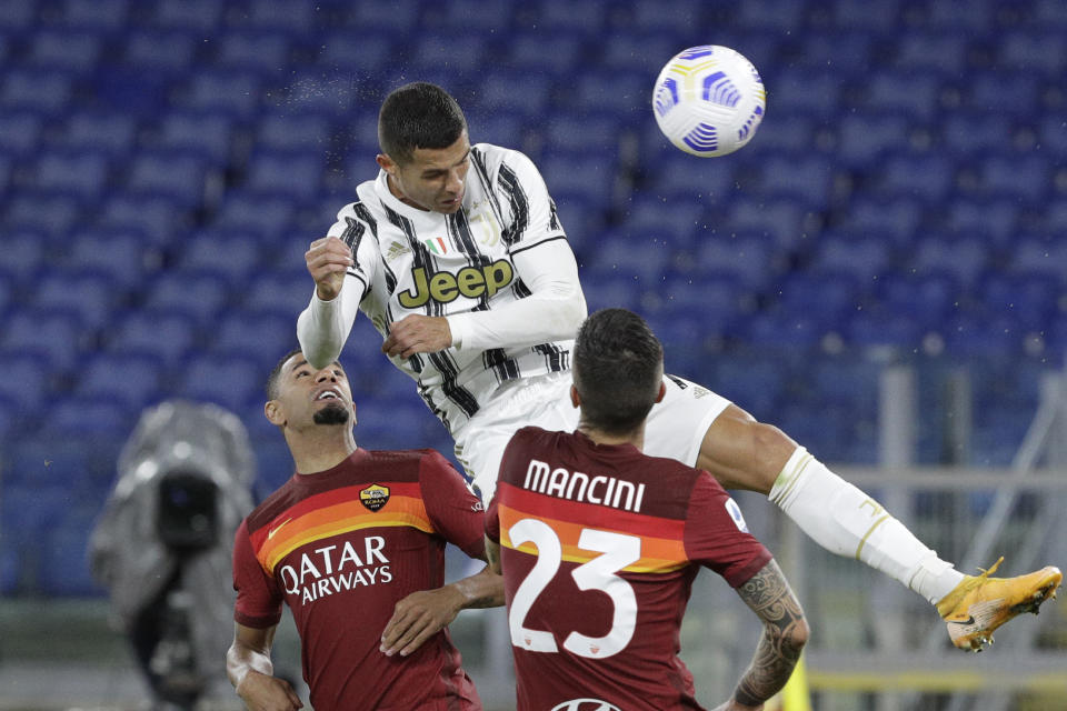 Cristiano Ronaldo scored both Juventus goals in Sunday's 2-2 draw against Roma. (AP Photo/Gregorio Borgia)