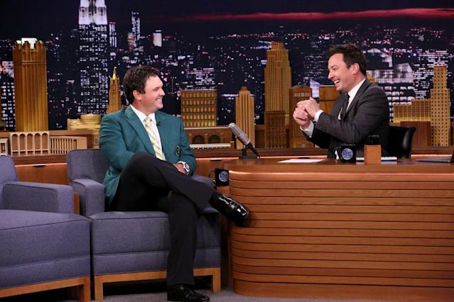 Patrick Reed on TV with Jimmy Fallon.