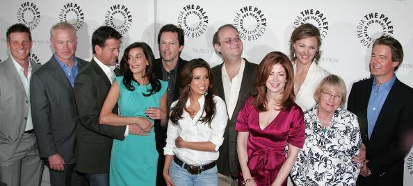 Actors Doug Savant, Neal McDonough, James Denton and Teri Hatcher, executive producer Bob Daily, actress Eva Longoria Parker, executive producer Marc Cherry and actors Dana Delany, Brenda Strong, Kathryn Joosten and Kyle MacLachlan attend the 'Desperate Housewives' event at PaleyFest09 at ArcLight Cinemas on April 18, 2009 in Hollywood, California. (Photo by David Livingston/Getty Images)