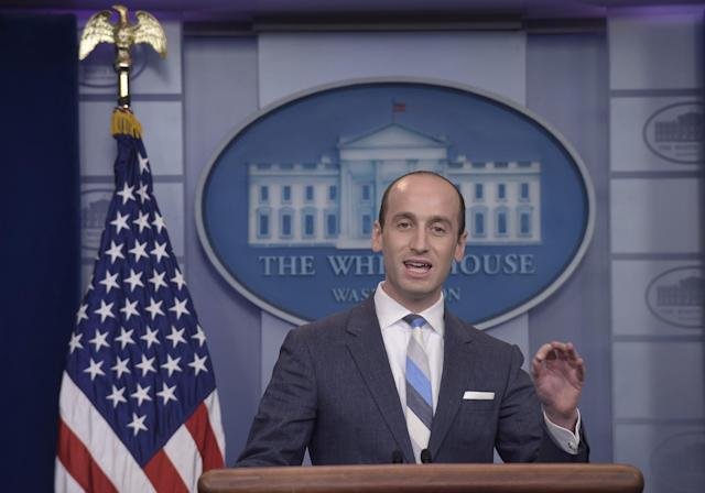 White House senior policy adviser Stephen Miller at the White House daily briefing, Aug. 2, 2017. (Photo: Susan Walsh/AP)